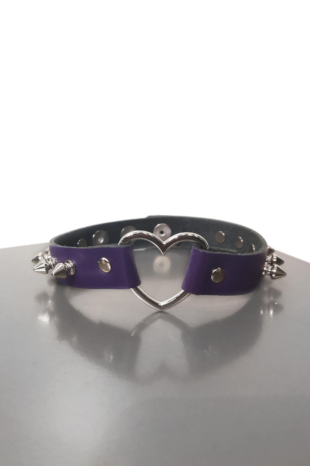 Heart Spike Leather Choker Purple