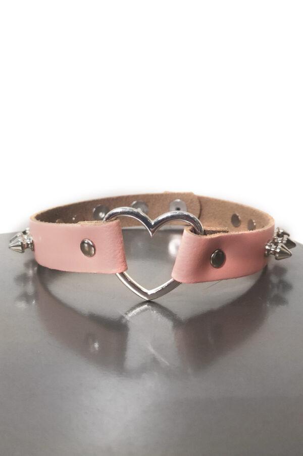 Heart Spike Leather Choker Baby Pink