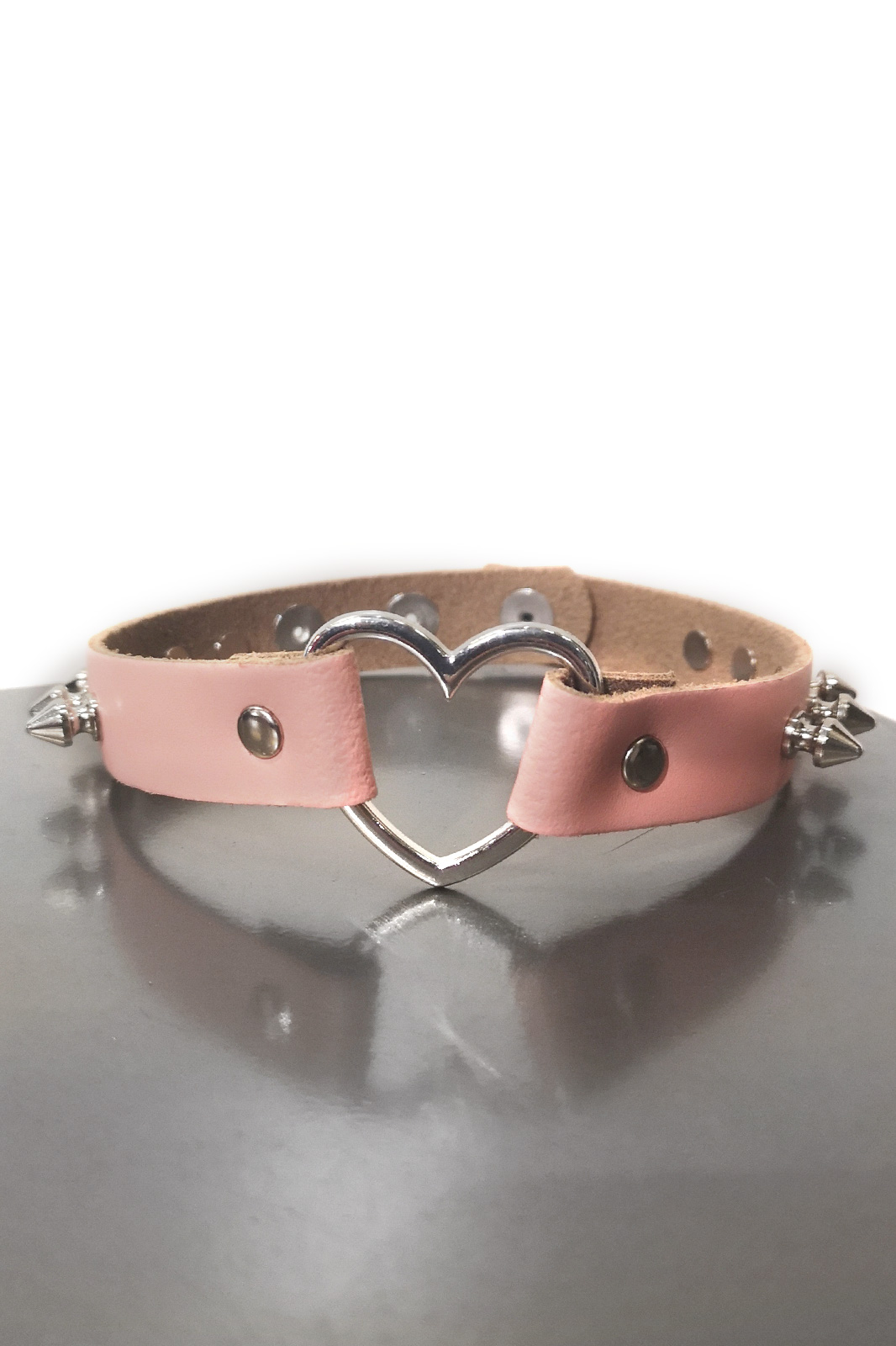 Heart Spike Leather Choker Baby Pink