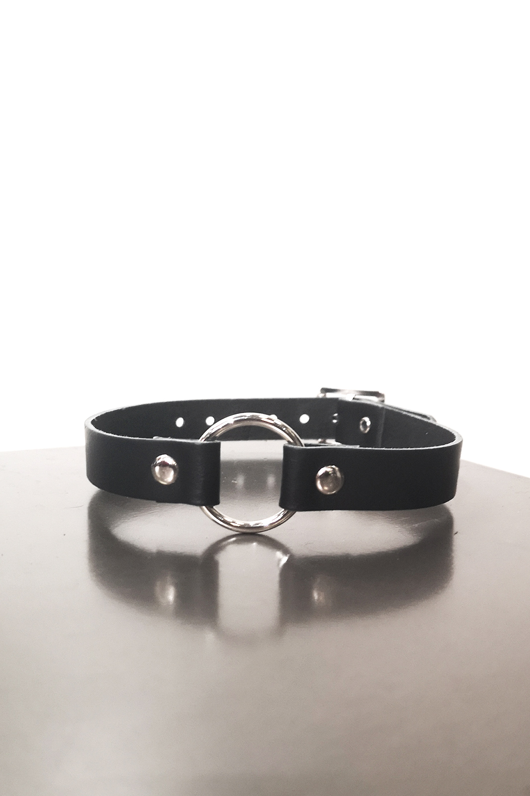1 Row Small Ring Leather Choker