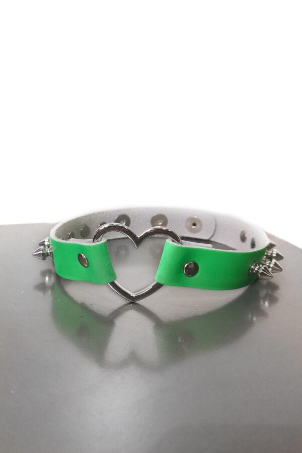 Heart Spike Leather Choker Green