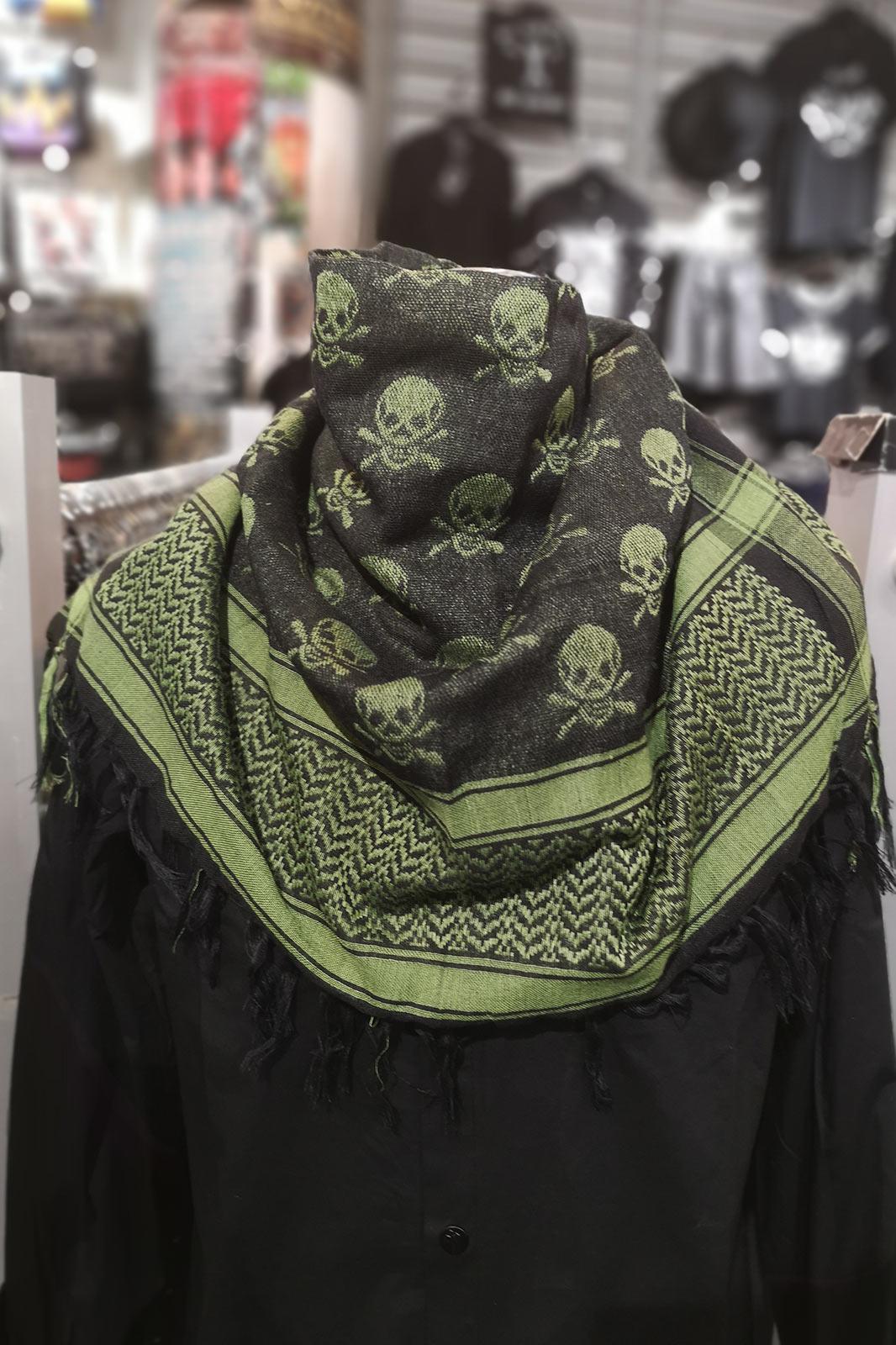Palestina Scarf w Skulls Green-Black