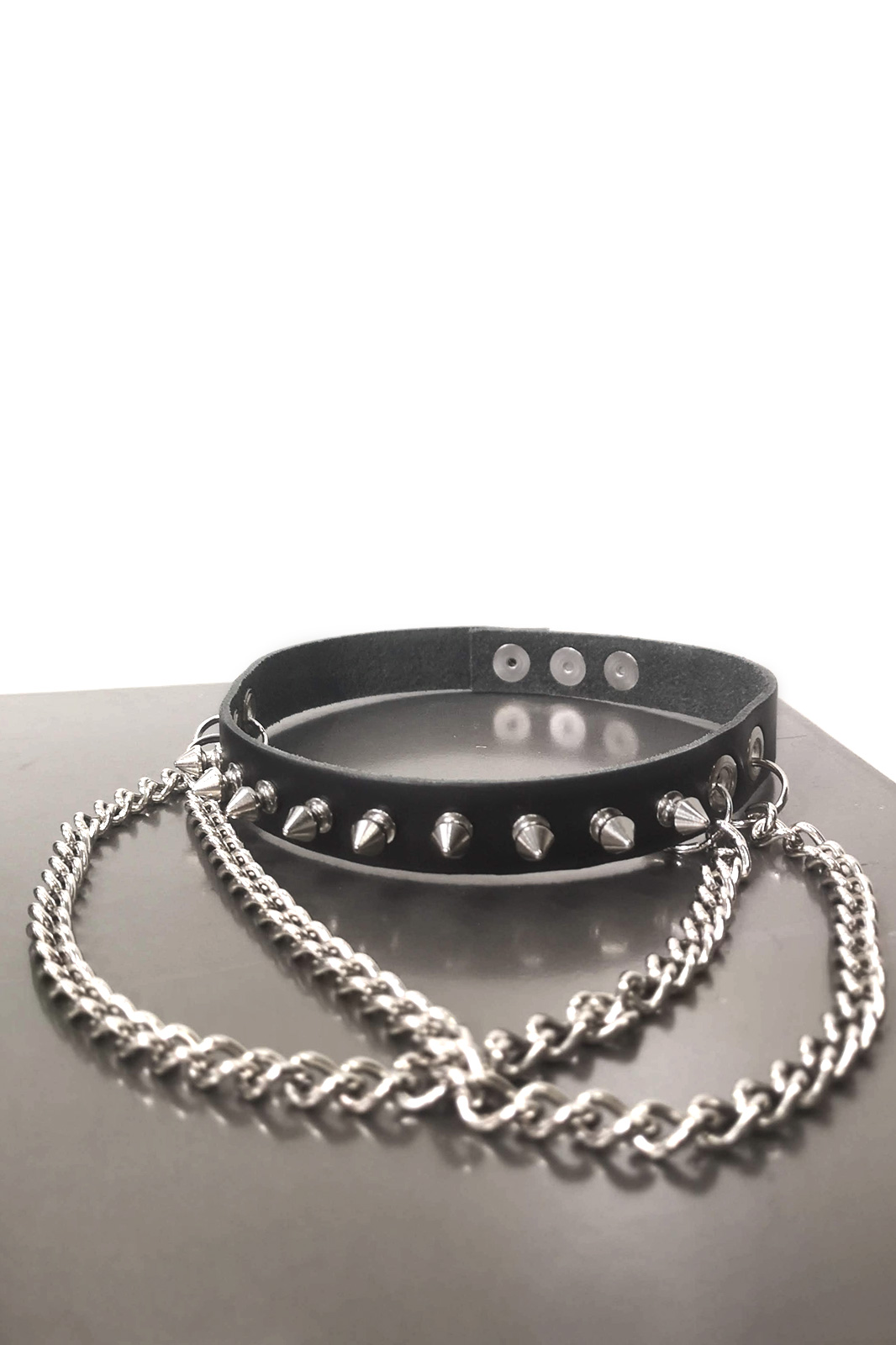Small Spike Double Chain Leather Choker