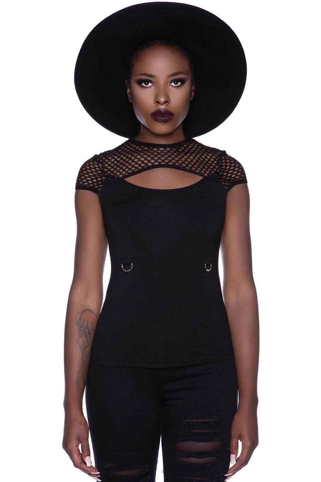 Ramona Cap-Sleeve Top Black