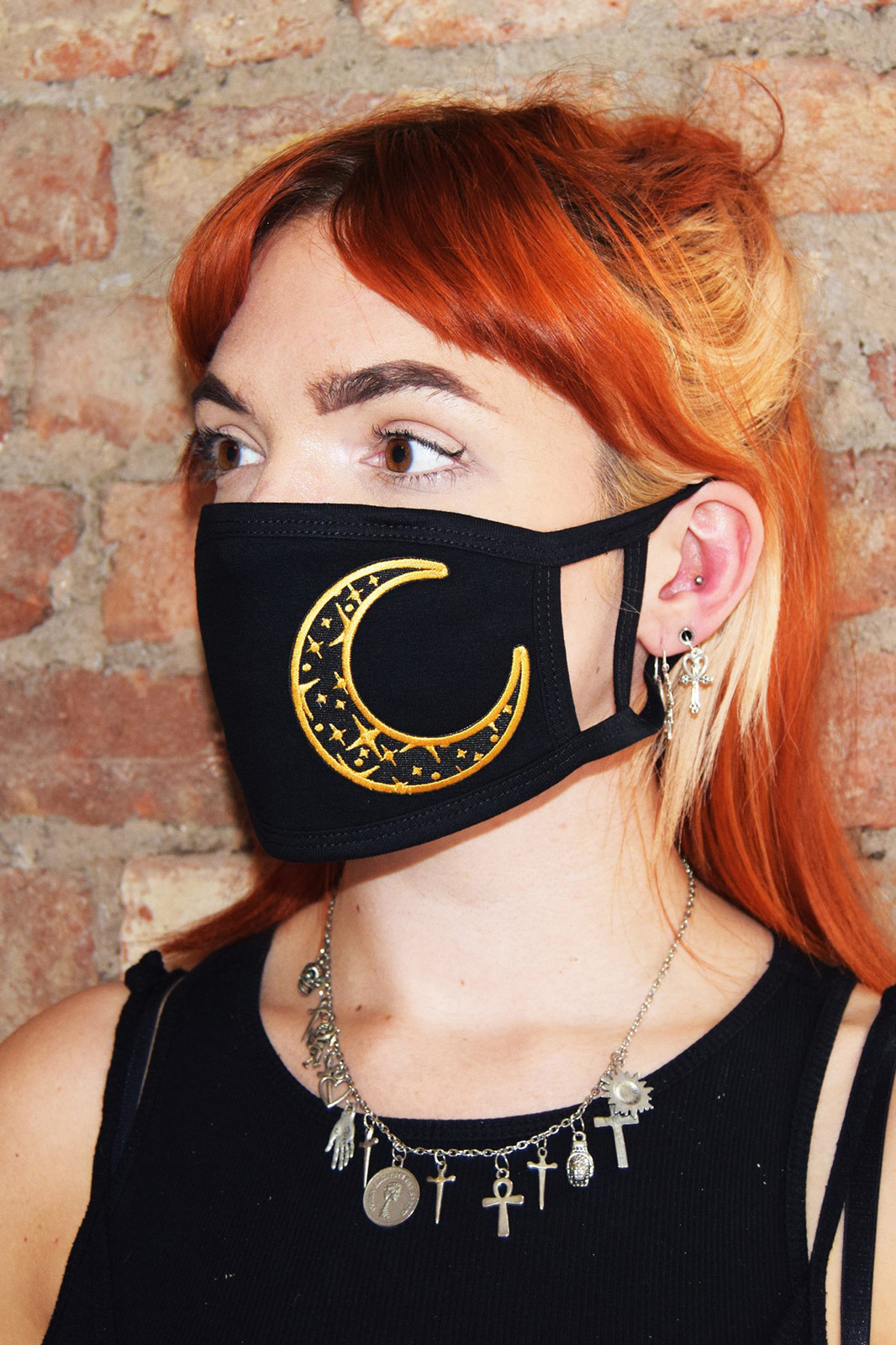 Black and Gold Moon Face Mask