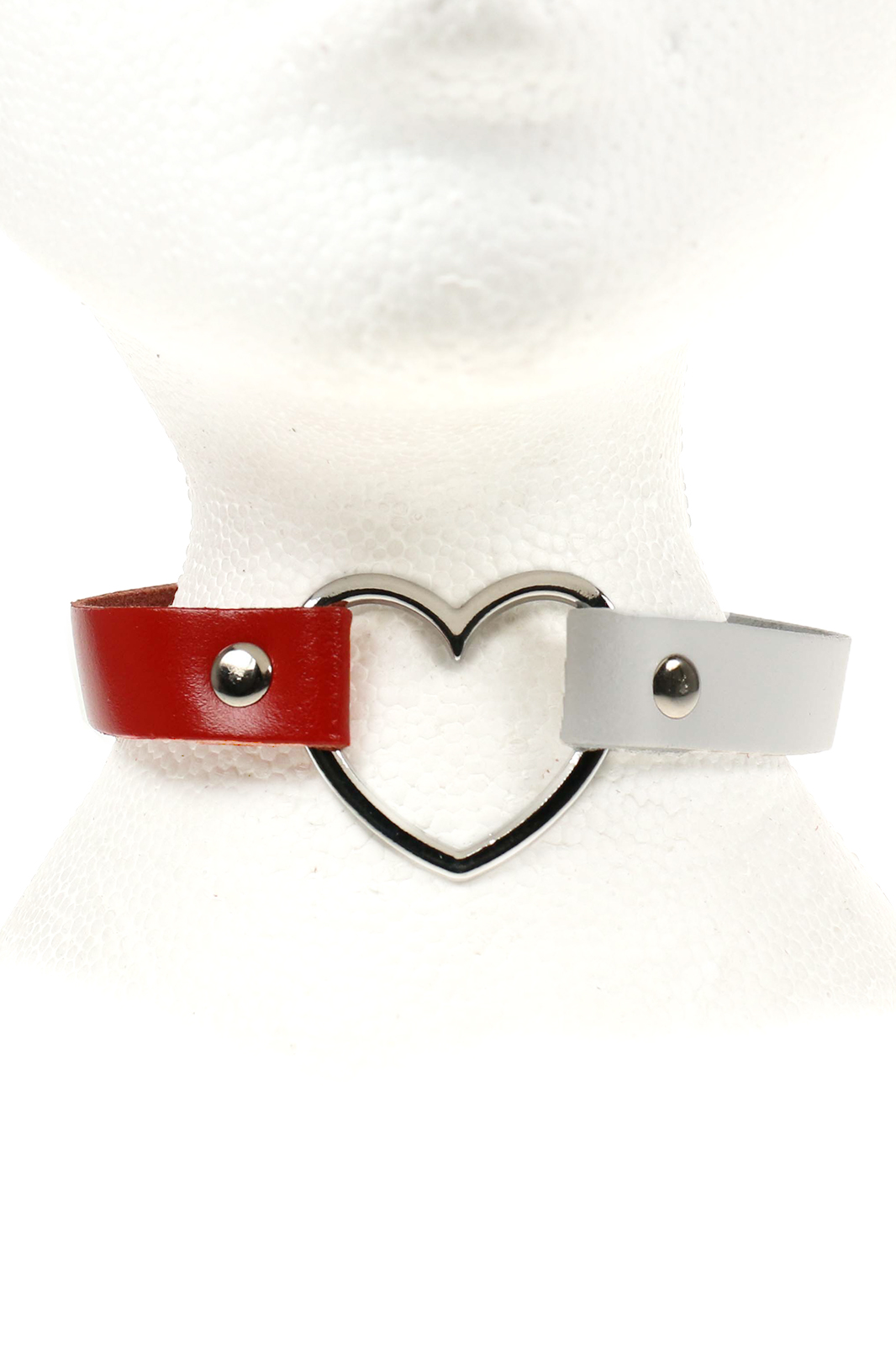Heart Leather Choker Red and White