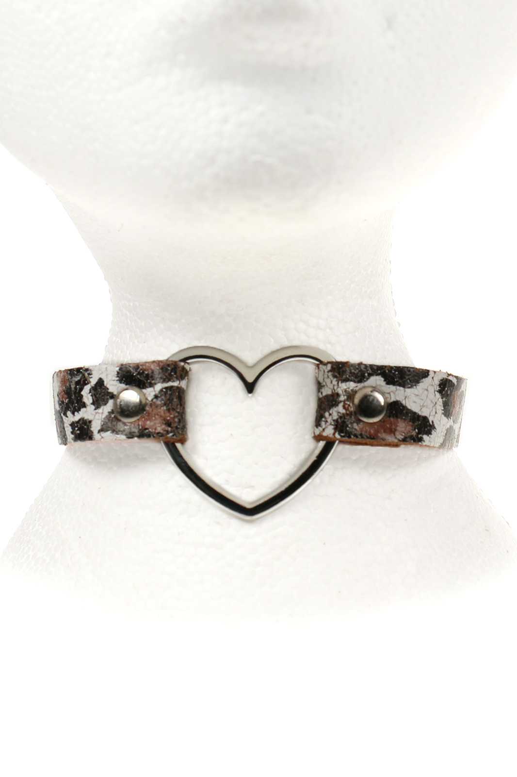 Heart Leather Choker Leopard