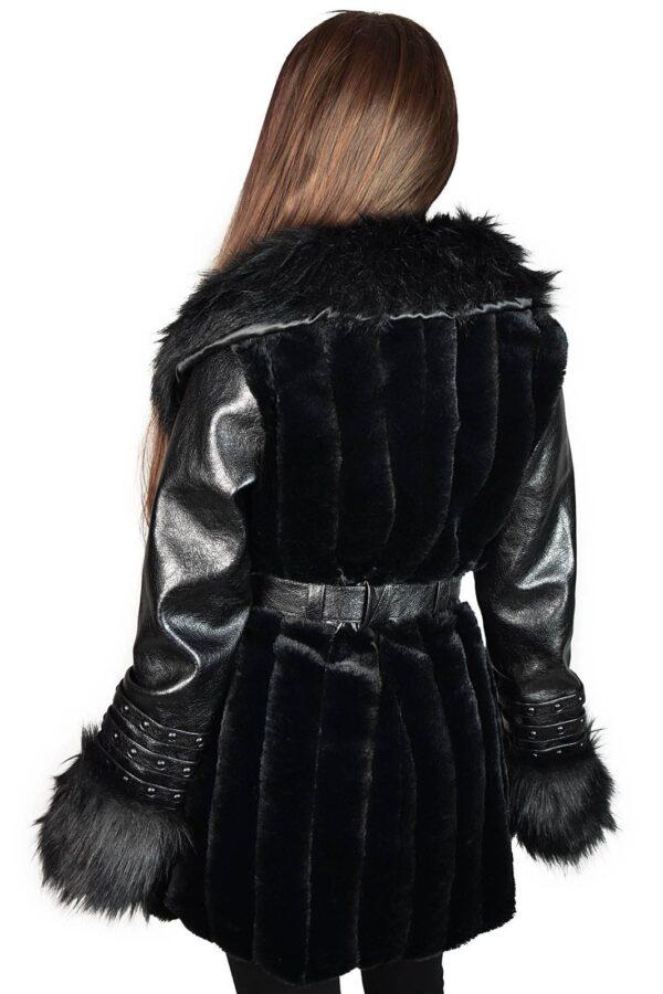 Krystina Faux-Fur Coat Black