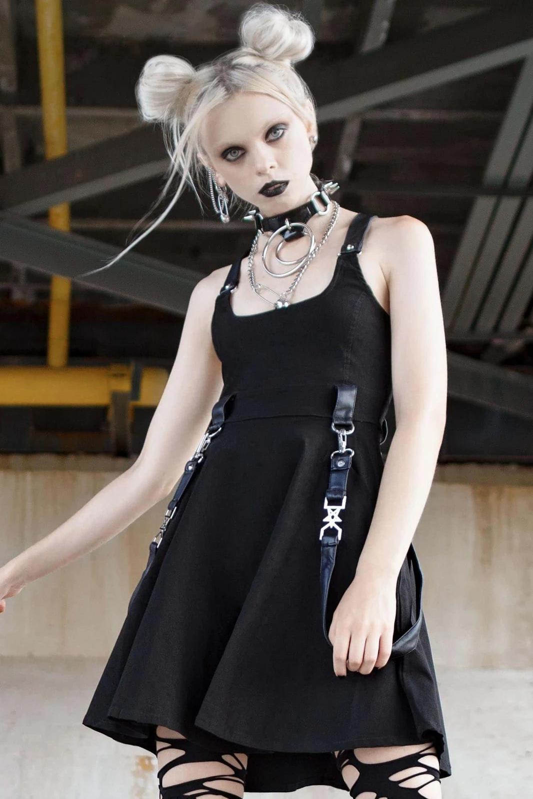 Oh My Ghoul Skater Dress Black