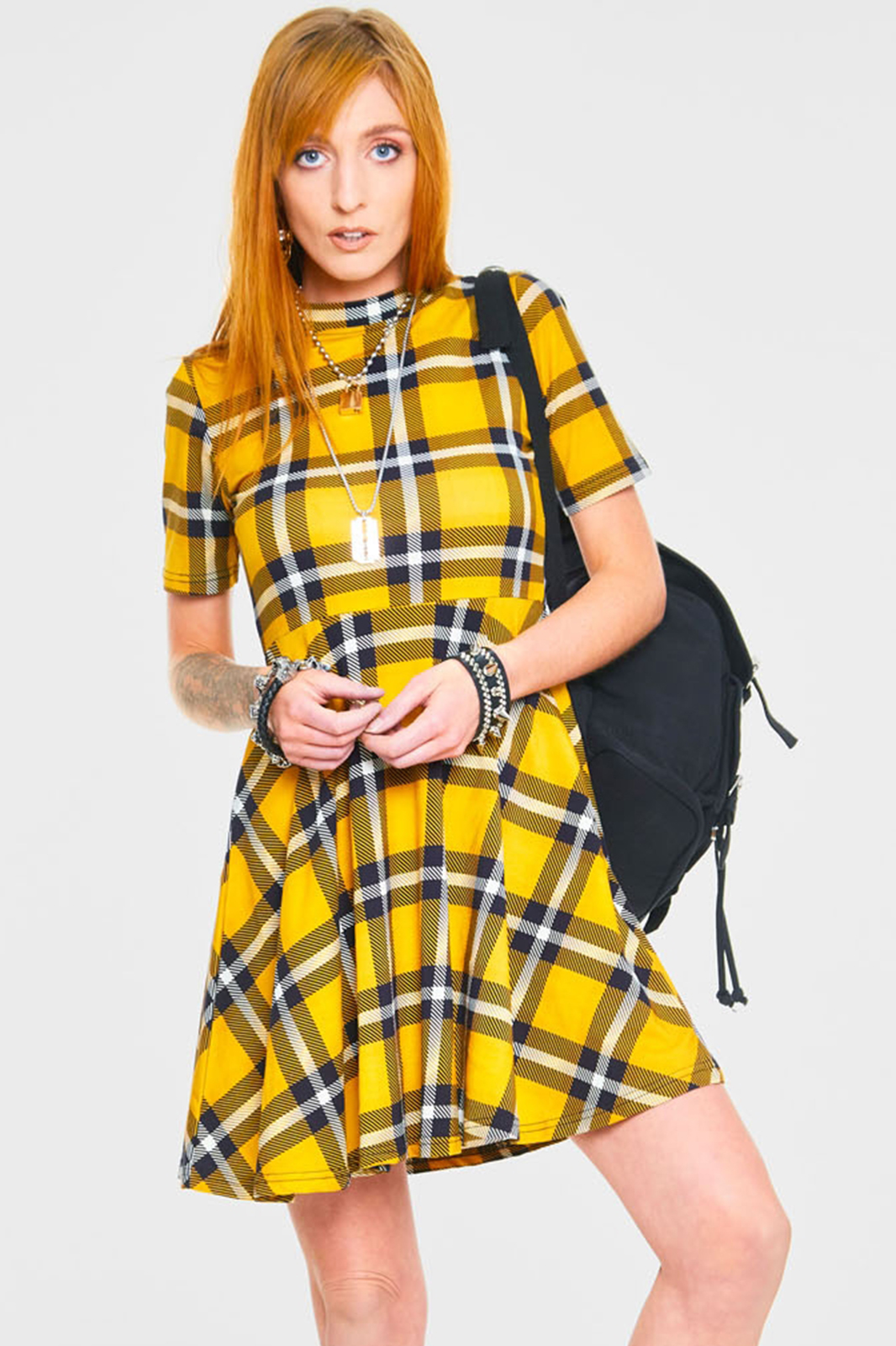 Reality Check Skater Dress Yellow