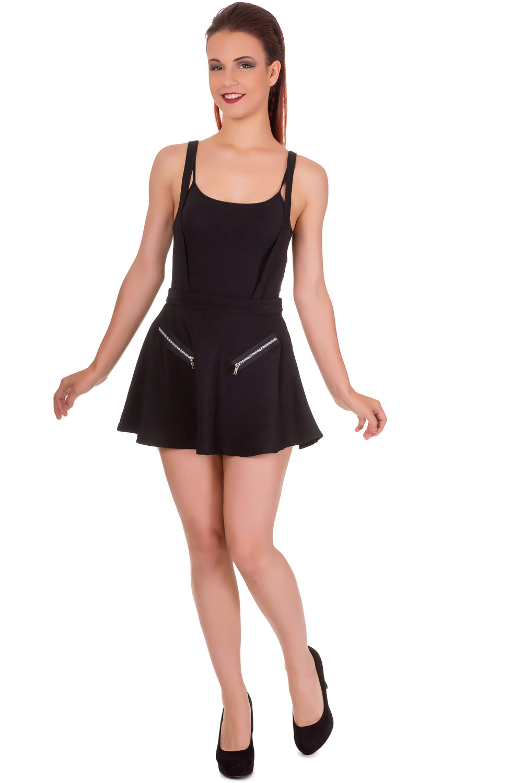 Highlife Pinafore Skirt Black