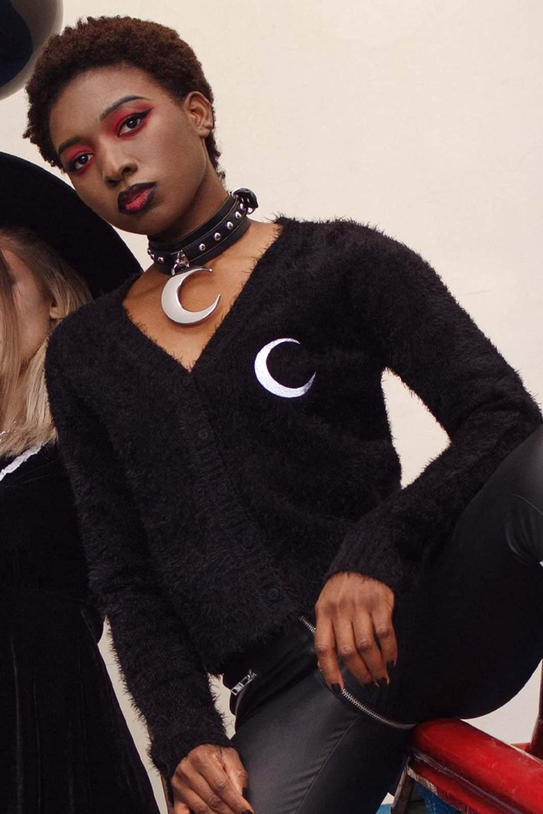 Crescent Knit Cardigan Black