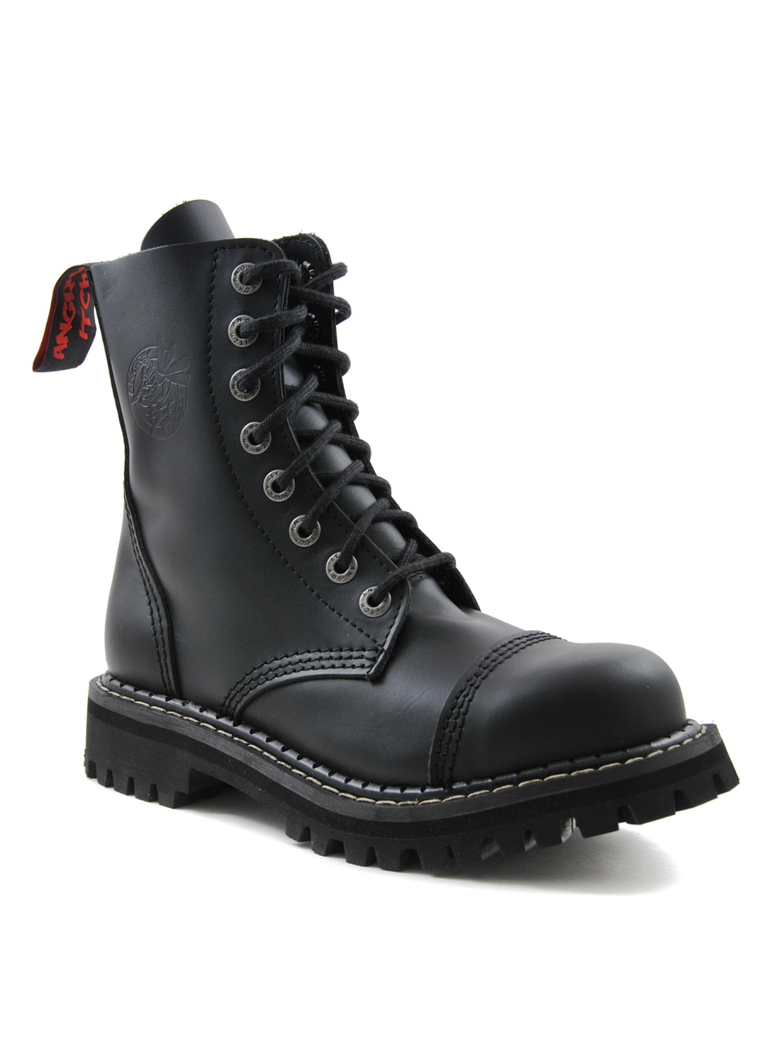 Angry Itch 8 Eye Steel Toe Boots Leather Black