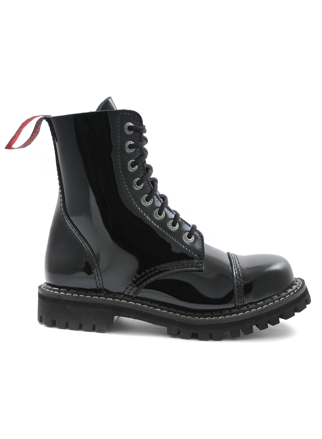 Angry Itch 8 Eye Steel Toe Boots Leather Patent