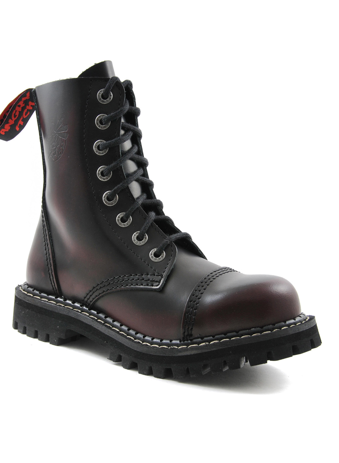 Angry Itch 8 Eye Steel Toe Boots Leather Burgundy