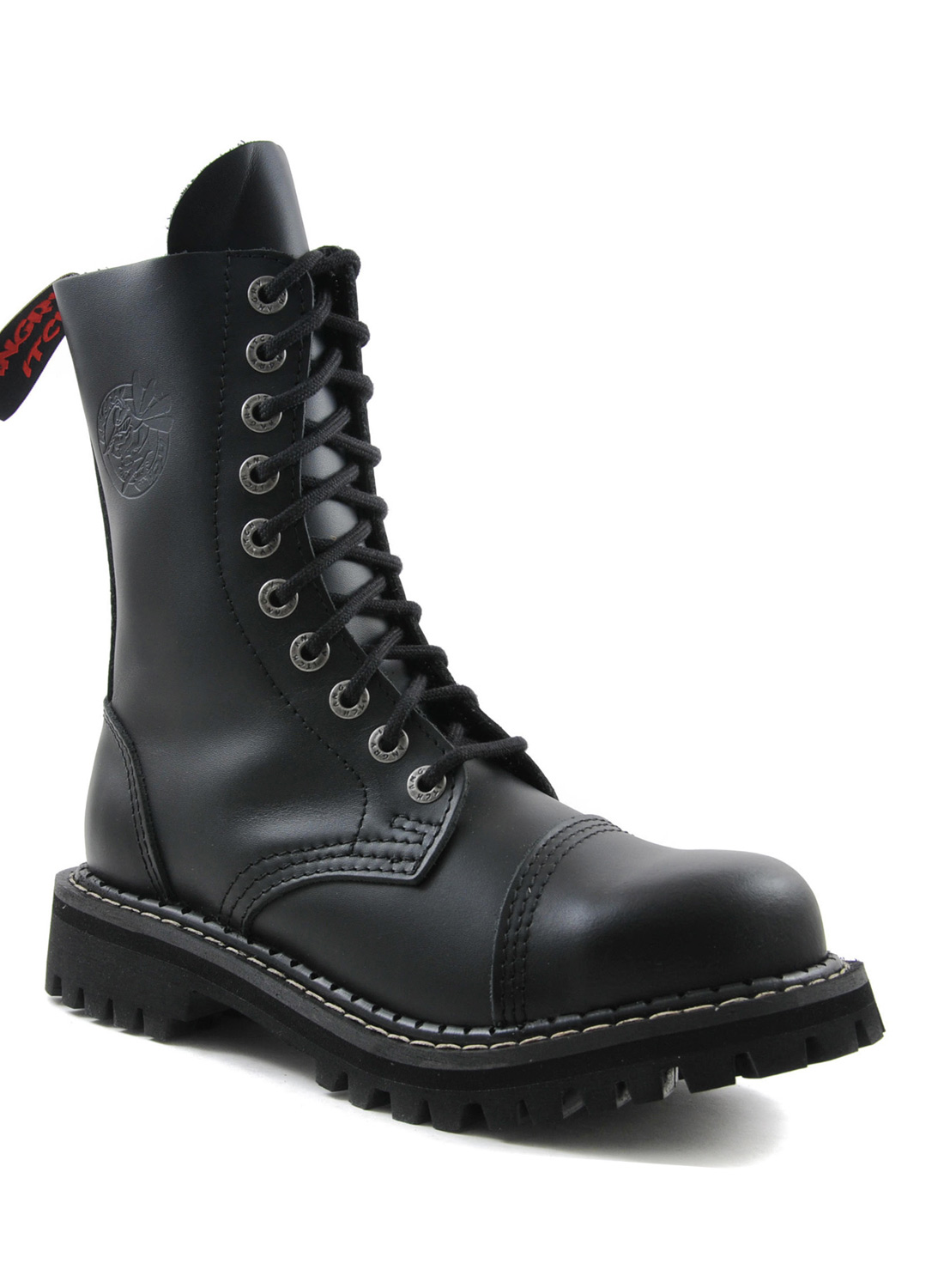 Angry Itch 10 Eye Steel Toe Boots Leather Black