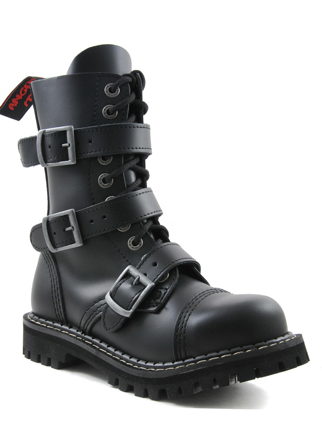 Angry Itch10 Eye Steel Toe With 3 Buckles Boots