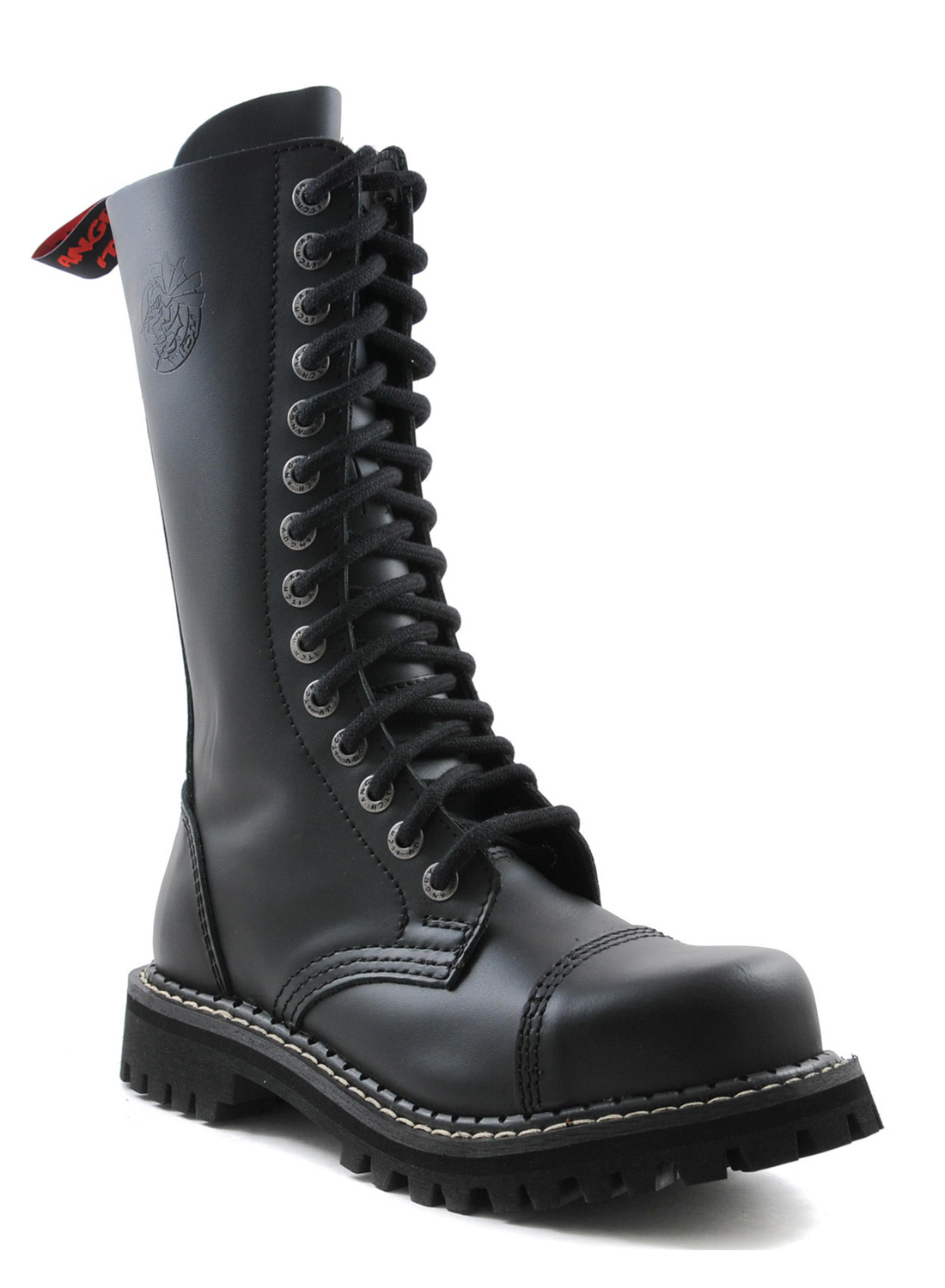 Angry Itch 14 Eye Steel Toe Boots Black Leather