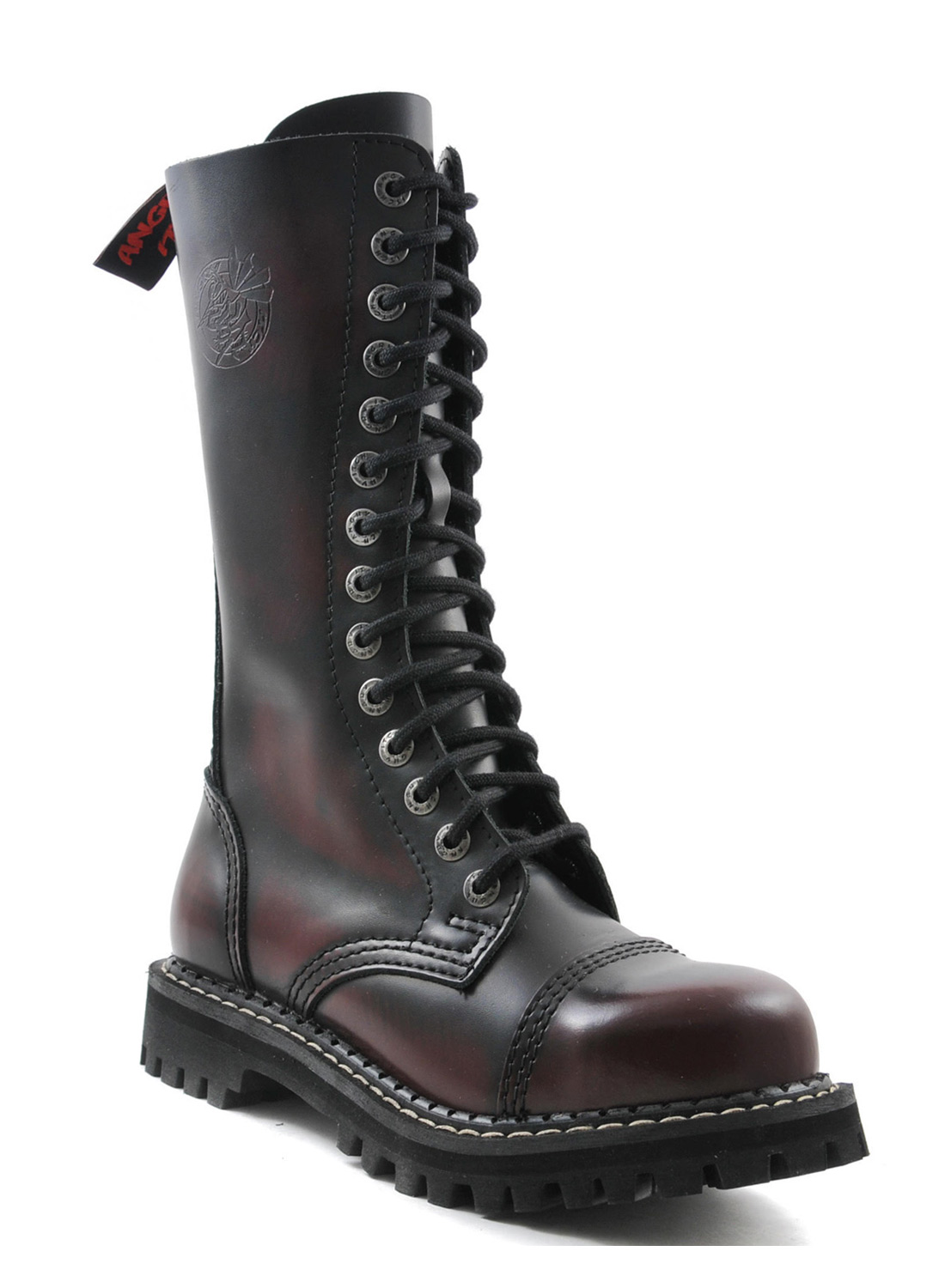 Angry Itch 14 Eye Steel Toe Boots Burgundy Leather