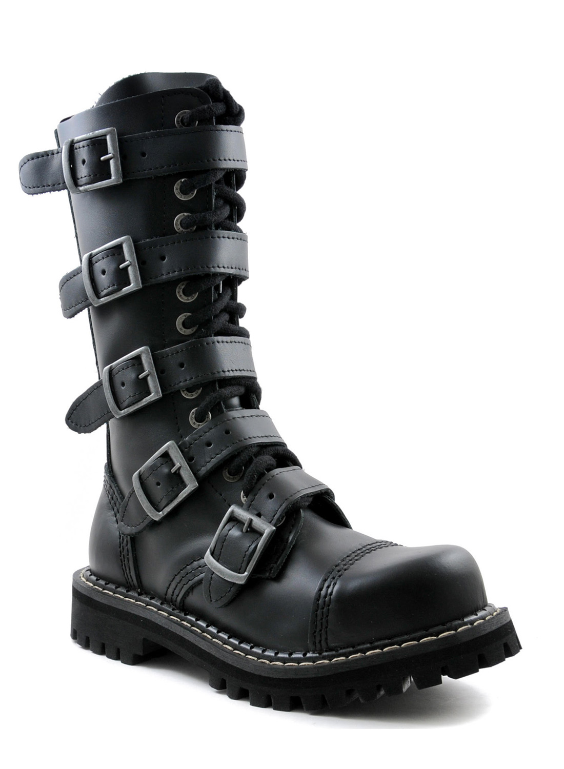 Angry Itch14 Eye Steel Toe With 5 Buckles Boots