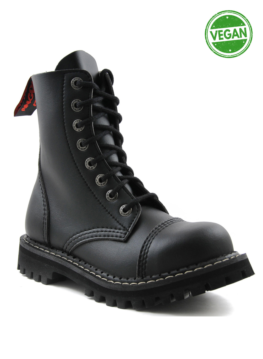 Angry Itch 8 Eye Steel Toe Boots Vegan Leather