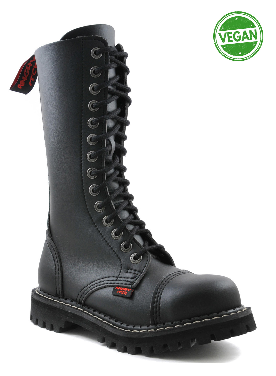 Angry Itch 14 Eye Steel Toe Boots Vegan Leather