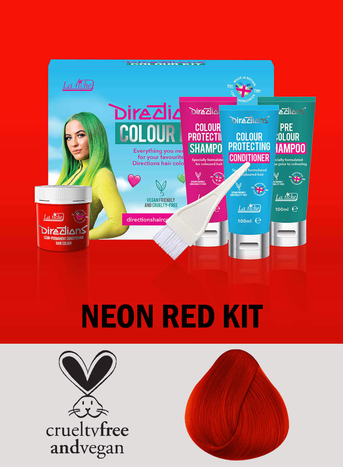 Directions Hair Colour Neon Red kit