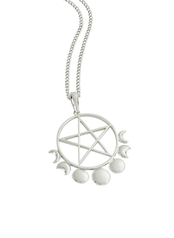 Halsband fråm Killstar. Pentagram och månfaser, ett glänsande silverhänge med tunn kedja som kan storlek justeras. Tillverkad i 100% metall. Hängsmycke storlek: 7cm. Kedjans storlek: 61cm.