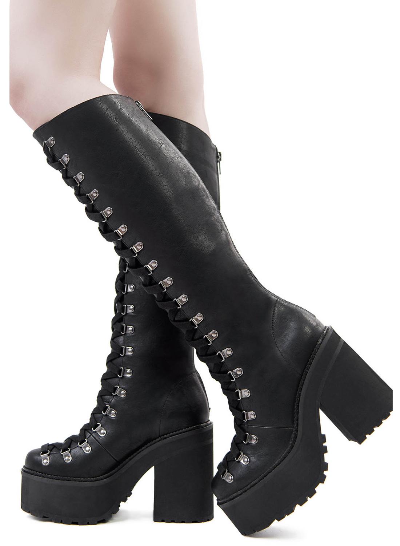 Killstar Bloodletting Knee High Boots Black