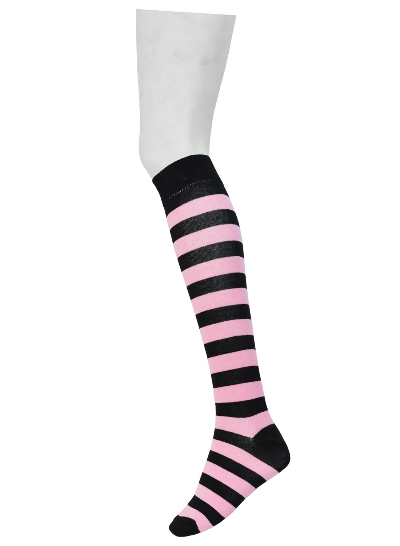 knee High Stripe Socks Black/Pink