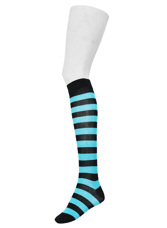 Knee High Stripe Socks Black/Neon Turquoise