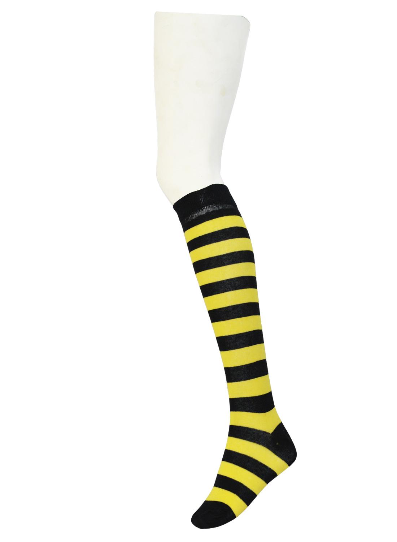 knee High Stripe Socks Black/Yellow
