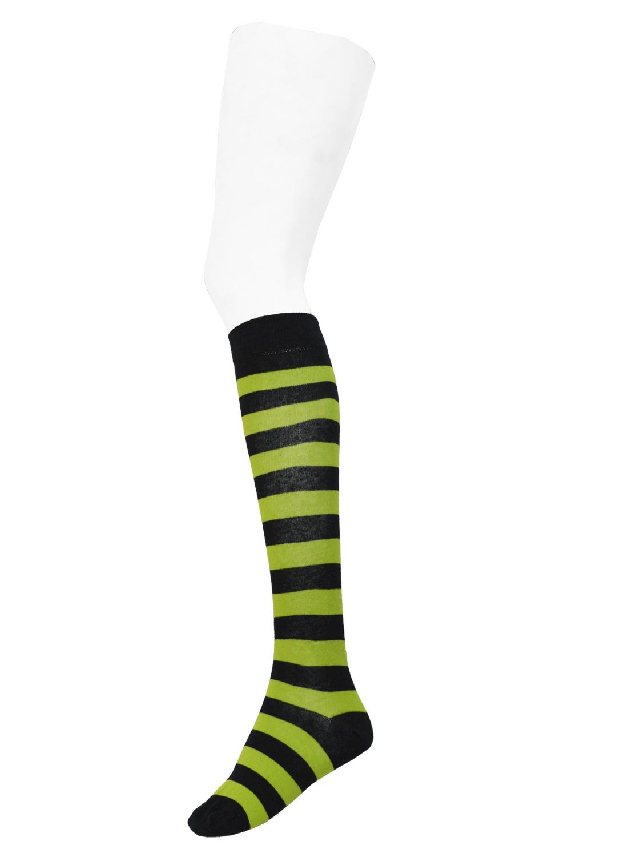 Knee High Stripe Socks Black/Neon Green