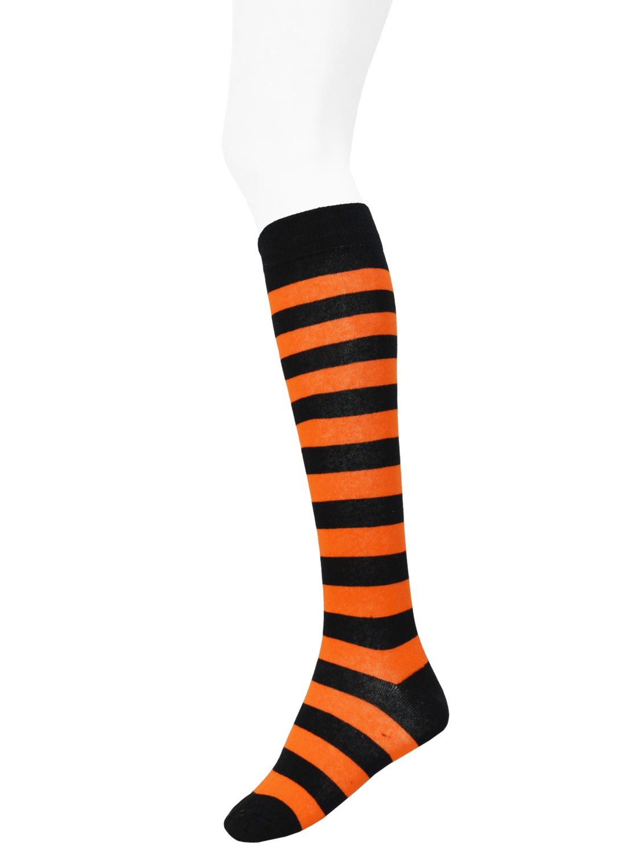 Knee High Stripe Socks Black/Orange